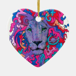 Ornamento De Cerâmica Leão psicadélico roxo