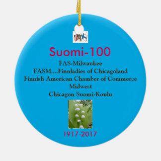 Ornamento De Cerâmica Lembrança 1917-2017 do Centennial de Suomi 100