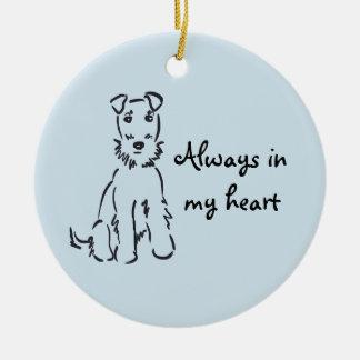 Ornamento De Cerâmica Lembrança customizável da memória do cão de