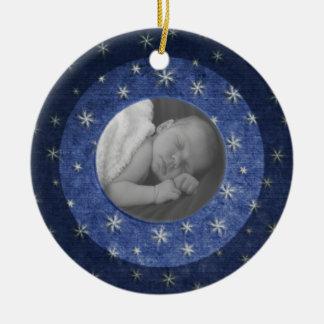Ornamento De Cerâmica Lembrança da foto da noite estrelado