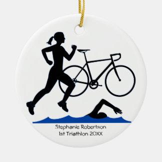 Ornamento De Cerâmica Lembrança fêmea do Triathlon no azul