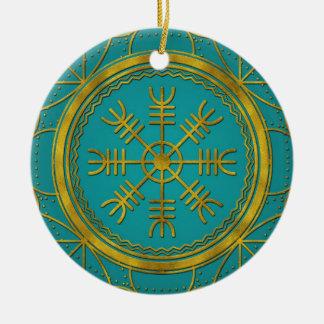 Ornamento De Cerâmica Leme dos runes da proteção de Viking da talismã do