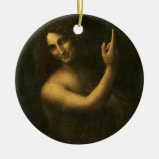 Ornamento De Cerâmica Leonardo da Vinci - pintura de John The Baptist do