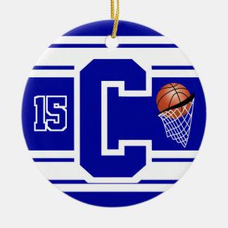 Ornamento De Cerâmica Letra azul escuro & branca C do basquetebol