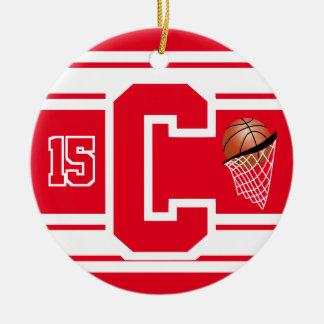 Ornamento De Cerâmica Letra vermelha e branca C do basquetebol