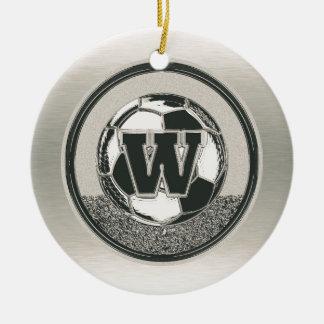 Ornamento De Cerâmica Letra W do monograma do futebol do medalhista de