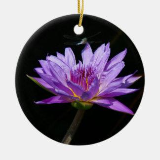 Ornamento De Cerâmica Libélula roxa de Lotus Waterlily