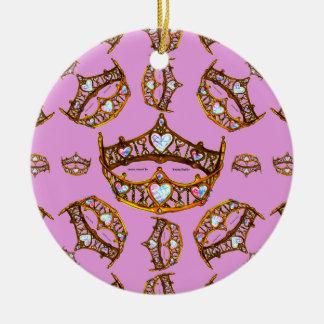 Ornamento De Cerâmica Lilac do rosa do teste padrão da tiara da coroa do