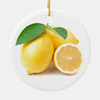 Ornamento De Cerâmica Limões amarelos brilhantes & frescos