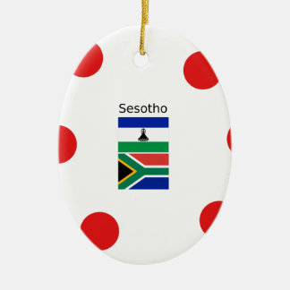 Ornamento De Cerâmica Língua de Sesotho e bandeiras de Lesotho/África do