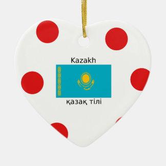 Ornamento De Cerâmica Língua do Cazaque e design da bandeira de