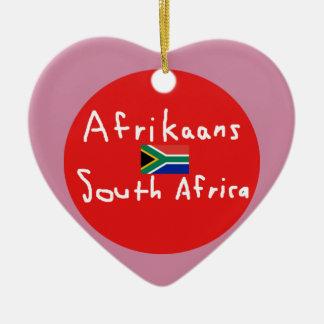 Ornamento De Cerâmica Língua e bandeira de África do Sul do holandês