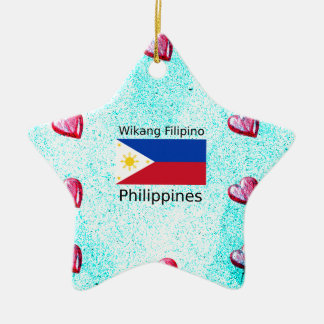 Ornamento De Cerâmica Língua filipina de Wikang e bandeira de Filipinas