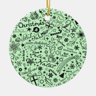 Ornamento De Cerâmica Línguas do múltiplo do Feliz Natal