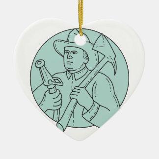 Ornamento De Cerâmica Linha do círculo da mangueira do machado do