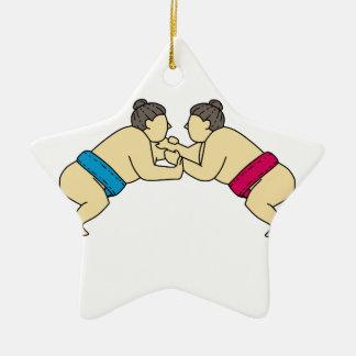 Ornamento De Cerâmica Linha do lado da luta dos lutadores do Sumo de