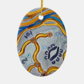 Ornamento De Cerâmica Linhas - artes aborígenes autênticas