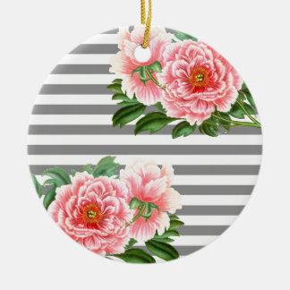 Ornamento De Cerâmica Linhas cor-de-rosa do cinza das peônias