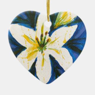 Ornamento De Cerâmica Lírio branco na coleção azul por Jane