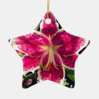 Ornamento De Cerâmica Lírio de dia cor-de-rosa