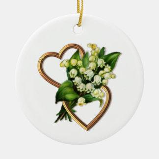 Ornamento De Cerâmica Lírio do vale com dois corações