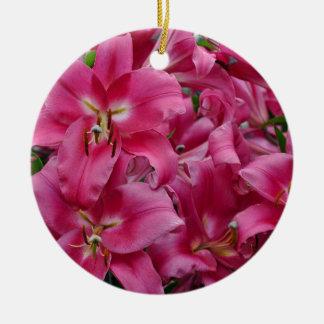 Ornamento De Cerâmica Lírios cor-de-rosa do stargazer