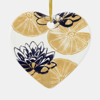 Ornamento De Cerâmica Lírios de água dourados