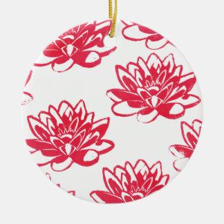 Ornamento De Cerâmica Lírios de água vermelha