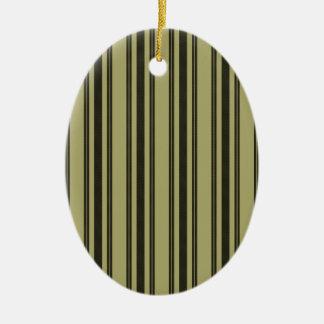 Ornamento De Cerâmica Listra dobro preta de tiquetaque do colchão Khaki