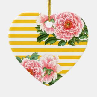 Ornamento De Cerâmica Listras amarelas das peônias cor-de-rosa