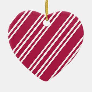 Ornamento De Cerâmica Listras do rosa cor-de-rosa w/White