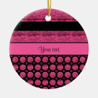 Ornamento De Cerâmica Listras do rosa quente e pontos do brilho