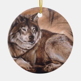 Ornamento De Cerâmica Lobo