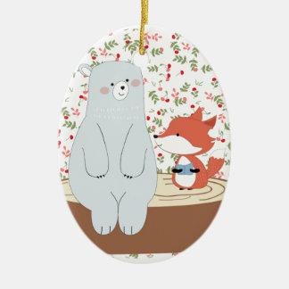 Ornamento De Cerâmica Lobo bonito da raposa do verão do primavera do