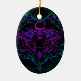 Ornamento De Cerâmica Lobo de néon Mythical da cerceta
