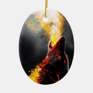 Ornamento De Cerâmica Lobo do fogo