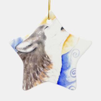 Ornamento De Cerâmica Lobo do urro