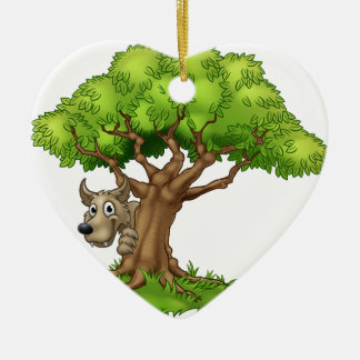 Ornamento De Cerâmica Lobo e árvore maus grandes do conto de fadas dos