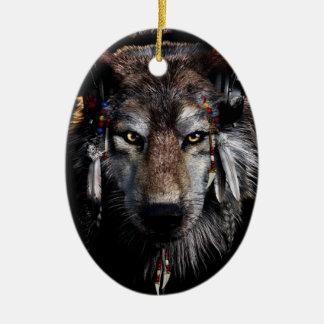 Ornamento De Cerâmica Lobo indiano - lobo cinzento