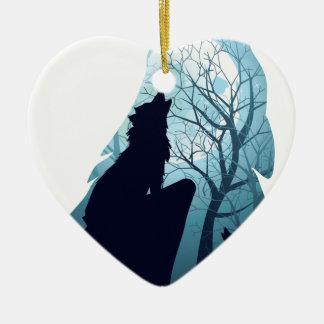 Ornamento De Cerâmica Lobo que urra com Forest2-01