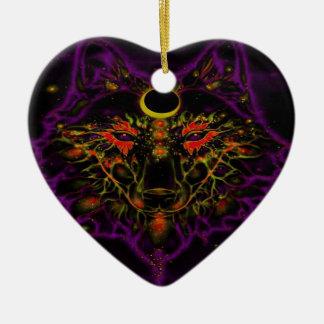 Ornamento De Cerâmica Lobo roxo de néon Mythical