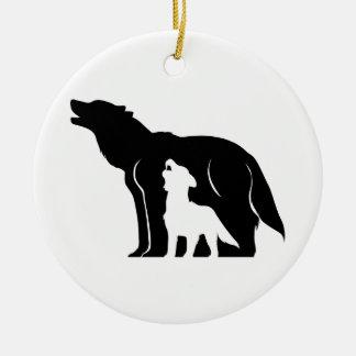 Ornamento De Cerâmica Lobos preto e branco