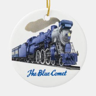 Ornamento De Cerâmica Locomotiva de vapor azul do cometa