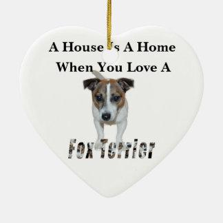 Ornamento De Cerâmica Logotipo do amor do Fox Terrier e do Fox Terrier,