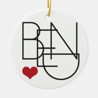 Ornamento De Cerâmica Logotipo do coração da palavra de Oregon da