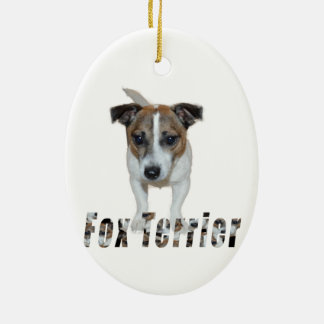 Ornamento De Cerâmica Logotipo do Fox Terrier e do Fox Terrier,