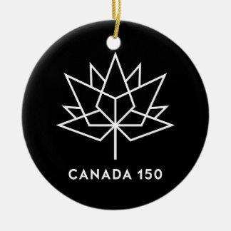 Ornamento De Cerâmica Logotipo do oficial de Canadá 150 - preto e branco