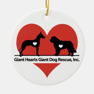 Ornamento De Cerâmica Logotipo gigante do salvamento do cão dos corações