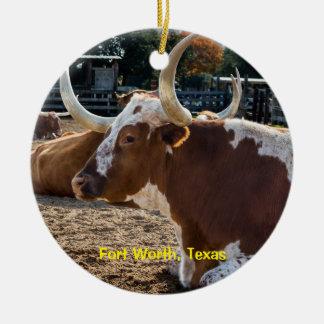 Ornamento De Cerâmica Longhorns de Fort Worth Texas