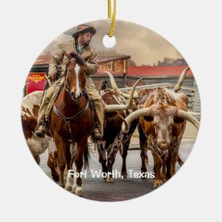Ornamento De Cerâmica Longhorns de Fort Worth, Texas